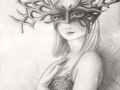 Watchful Eyes Masked Goddess Art Fantasy ART PRINT Mask Masquerade Pagan Art Wiccan Art