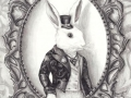 White Rabbit Art Print Alice in Wonderland Art Gothic Art Fairy Tale Art Victorian Art